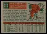 1959 Topps #314  Don Cardwell  Back Thumbnail