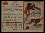 1957 Topps #59   Kyle Rote Back Thumbnail