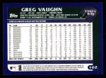 2003 Topps #162  Greg Vaughn  Back Thumbnail