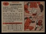1957 Topps #93   Preston Carpenter Back Thumbnail