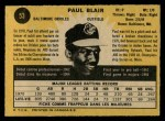 1971 O-Pee-Chee #53  Paul Blair  Back Thumbnail