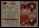 1957 Topps #34  Bill Wade  Back Thumbnail