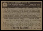 1952 Topps #71 BLK Tom Upton  Back Thumbnail