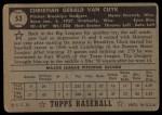 1952 Topps #53 BLK Chris Van Cuyk  Back Thumbnail