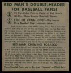 1952 Red Man #8 NLx Jim Hearn  Back Thumbnail