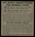 1952 Red Man #13 NLx Whitey Lockman  Back Thumbnail