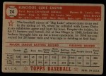 1952 Topps #24 RED Luke Easter  Back Thumbnail