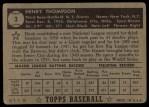 1952 Topps #3 BLK Hank Thompson  Back Thumbnail