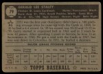 1952 Topps #79 BLK Gerry Staley  Back Thumbnail