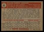 1952 Topps #83   Billy Johnson Back Thumbnail