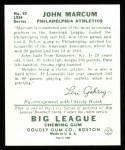 1934 Goudey Reprints #69  John Marcum  Back Thumbnail