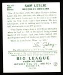 1934 Goudey Reprints #49  Sam Leslie  Back Thumbnail