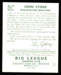 1934 Goudey Reprints #40  John Stone  Back Thumbnail