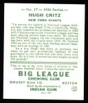 1934 Goudey Reprints #17  Hugh Critz  Back Thumbnail