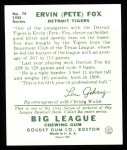 1934 Goudey Reprints #70  Pete Fox  Back Thumbnail
