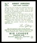1934 Goudey Reprints #72  Arndt Jorgens  Back Thumbnail