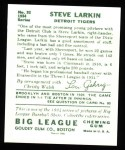 1934 Goudey Reprints #92  Steve Larkin  Back Thumbnail