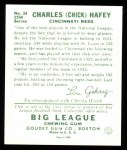 1934 Goudey Reprints #34  Chick Hafey  Back Thumbnail