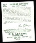 1934 Goudey Reprints #53  George Watkins  Back Thumbnail