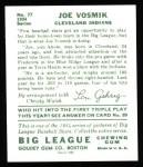 1934 Goudey Reprints #77  Joe Vosmik  Back Thumbnail