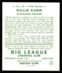 1934 Goudey Reprints #14  Willie Kamm  Back Thumbnail