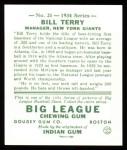 1934 Goudey Reprints #21  Bill Terry  Back Thumbnail
