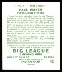 1934 Goudey Reprints #11  Paul Waner  Back Thumbnail