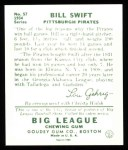 1934 Goudey Reprints #57  Bill Swift  Back Thumbnail