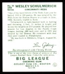 1934 Goudey Reprints #54  Wesley Schulmerich  Back Thumbnail