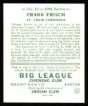 1934 Goudey Reprints #13  Frankie Frisch   Back Thumbnail