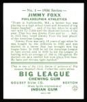 1934 Goudey Reprints #1  Jimmie Foxx  Back Thumbnail