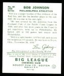 1934 Goudey Reprints #68  Bob Johnson  Back Thumbnail
