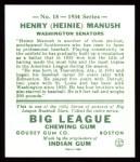 1934 Goudey Reprints #18  Heinie Manush  Back Thumbnail