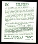 1934 Goudey Reprints #81  Bob Brown  Back Thumbnail