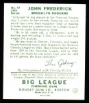 1934 Goudey Reprints #47  John Frederick  Back Thumbnail