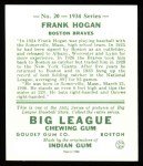 1934 Goudey Reprints #20  Frank Hogan  Back Thumbnail