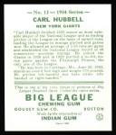 1934 Goudey Reprints #12  Carl Hubbell  Back Thumbnail