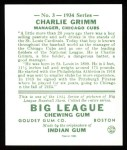 1934 Goudey Reprints #3  Charlie Grimm  Back Thumbnail
