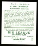1934 Goudey Reprints #15  Alvin Crowder  Back Thumbnail