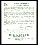 1934 Goudey Reprints #43  Dick Porter  Back Thumbnail