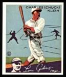 1934 Goudey Reprints #10  Chuck Klein  Front Thumbnail