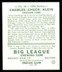 1934 Goudey Reprints #10  Chuck Klein  Back Thumbnail