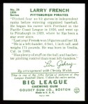 1934 Goudey Reprints #29  Larry French  Back Thumbnail