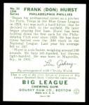 1934 Goudey Reprints #33  Don Hurst  Back Thumbnail
