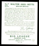 1934 Goudey Reprints #36  Walter Betts  Back Thumbnail