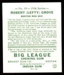 1934 Goudey Reprints #19  Lefty Grove  Back Thumbnail