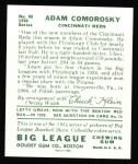 1934 Goudey Reprints #85  Adam Comorosky  Back Thumbnail