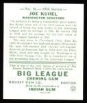 1934 Goudey Reprints #16  Joe Kuhel  Back Thumbnail