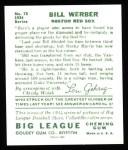 1934 Goudey Reprints #75  Bill Werber  Back Thumbnail