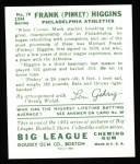 1934 Goudey Reprints #78  Pinky Higgins  Back Thumbnail